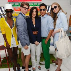 Lisa Birnbach, author of The Official Preppy Handbook and True Prep: It's a Whole New Old World, with models