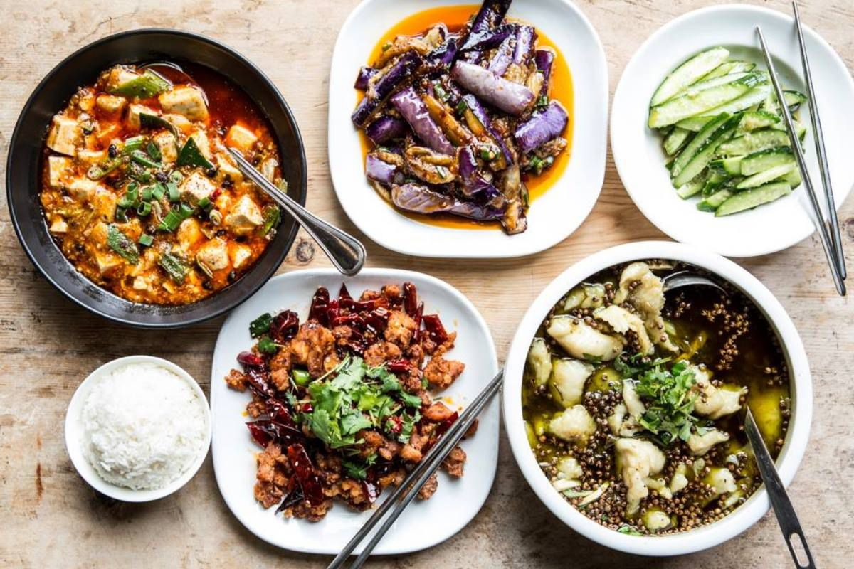 Mapo tofu, grilled eggplant, cucumbers, and more dishes from Mala Sichuan Bistro