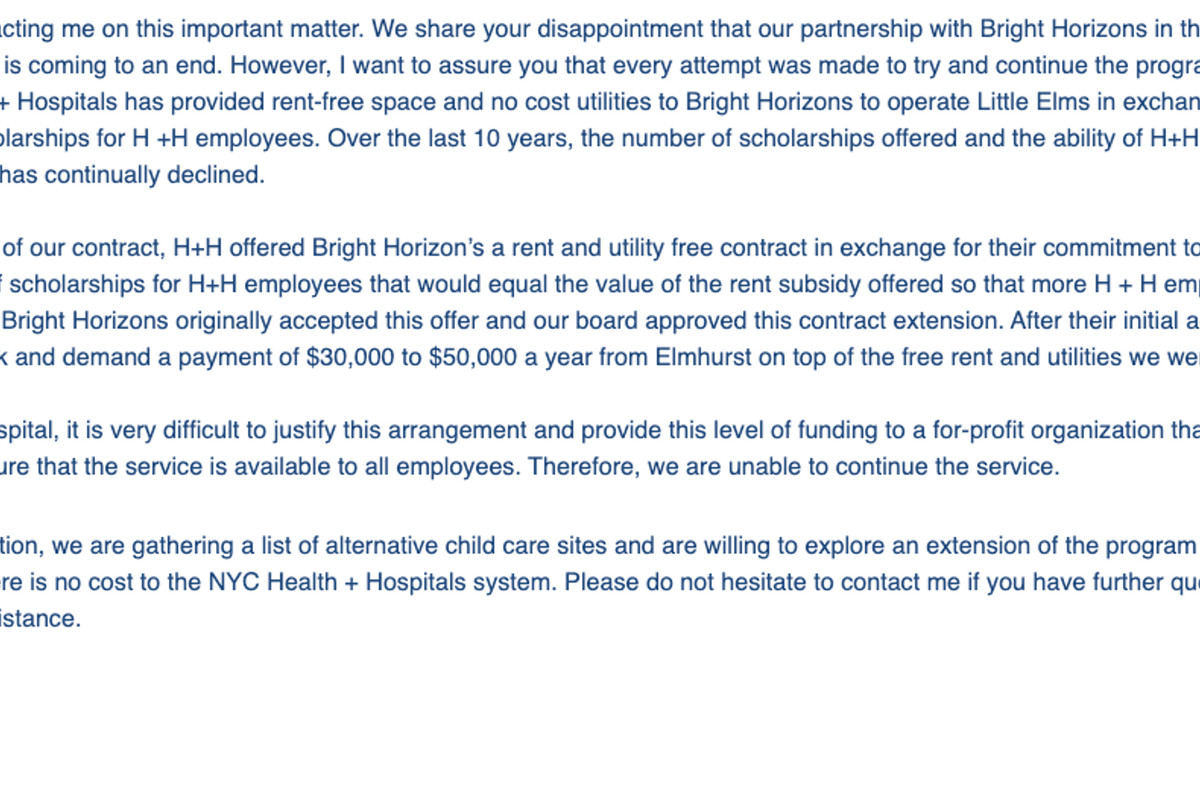Letter from Elmhurst Hospital CEO Israel Rocha to families regarding day care center closure.