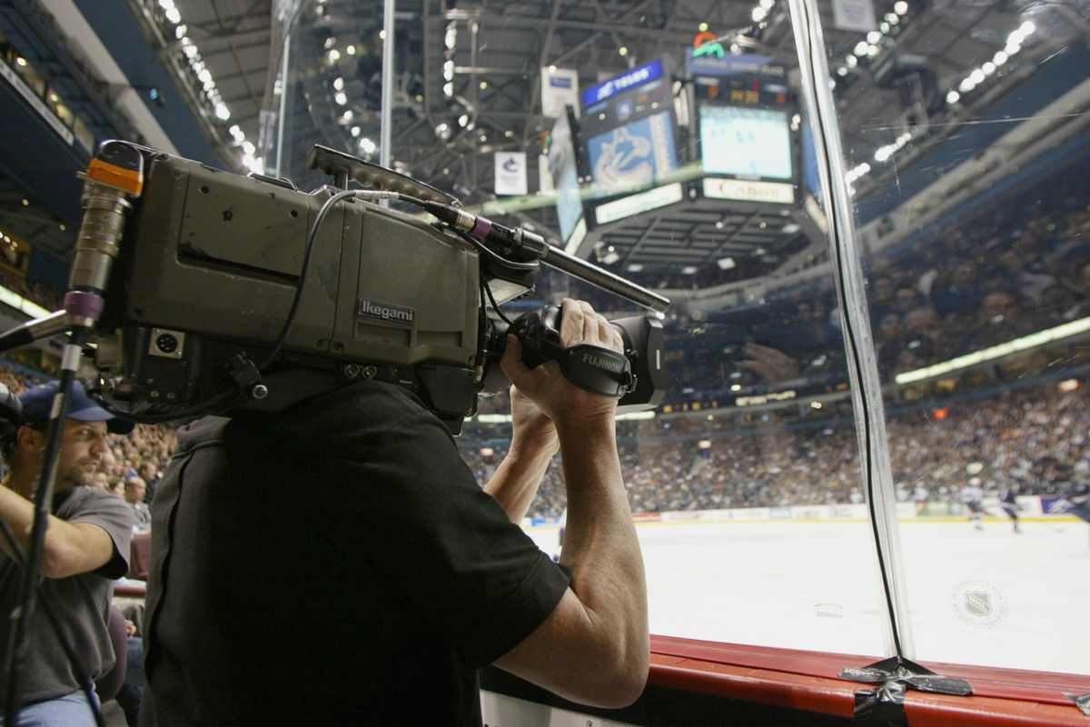 A general view of a camera man filming the game between the Los Angeles Kings and the Vancouver Canucks at the GM Place Arena taken on March 28, 2006 in Vancouver,British Columbia.