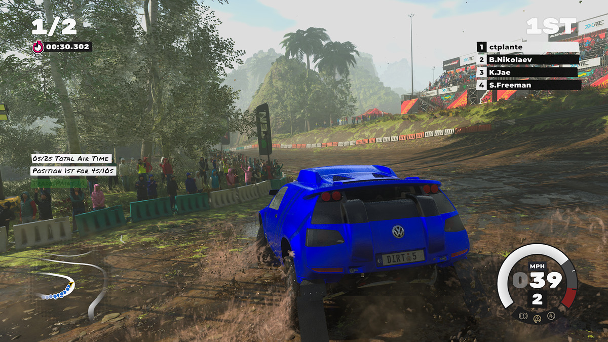 A truck takes a slippery turn in Dirt 5 on Xbox Series X.