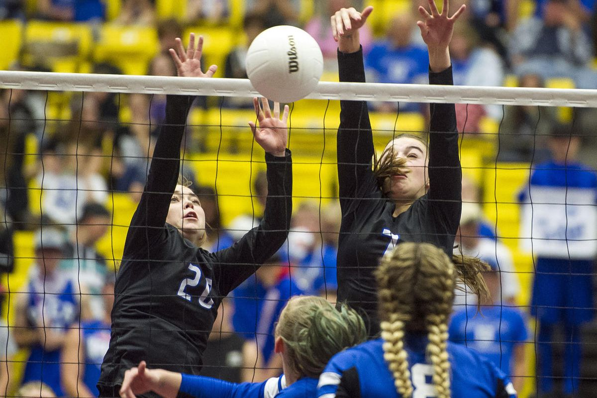 FILE: Rich and Panguitch compete during the UHSAA class 1A volleyball title match in Orem on Saturday, Oct. 29, 2016. Rich defeated Panguitch 3-1 for the championship crown.