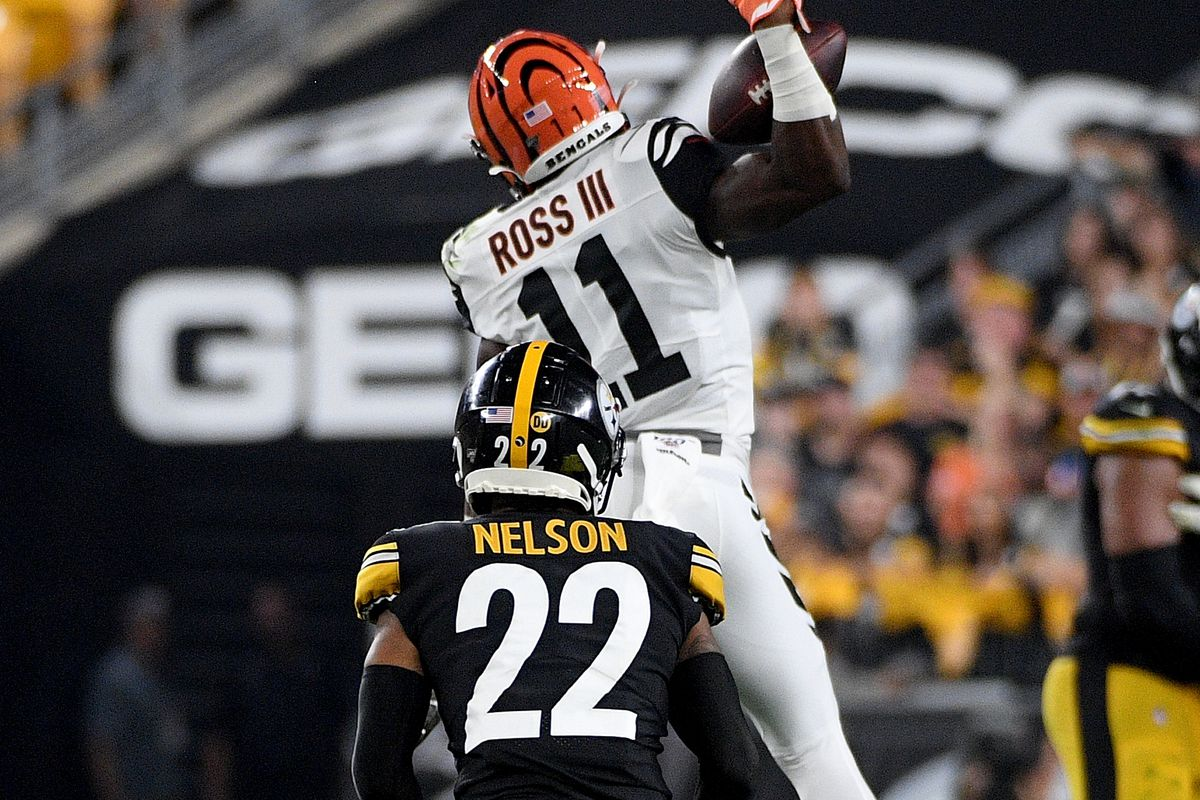 John Ross of the Cincinnati Bengals makes a catch as Steven Nelson of the Pittsburgh Steelers defends in the second quarter during the game at Heinz Field on September 30, 2019 in Pittsburgh, Pennsylvania.