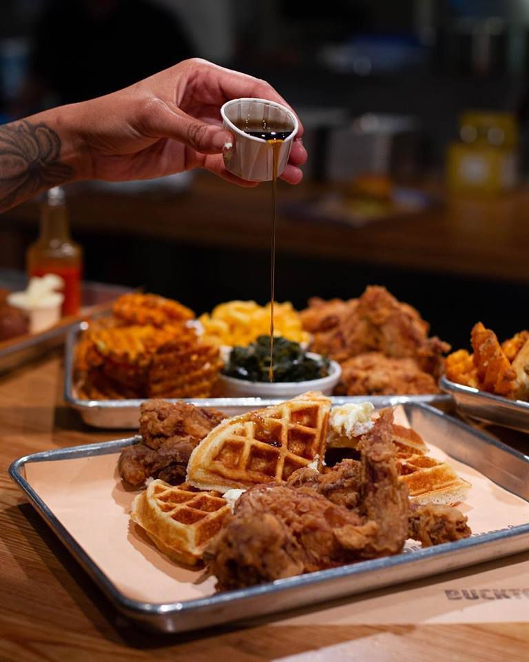 Chicken and waffles at Bucktown in Providence