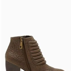 """<a href=""""http://www.nastygal.com/product/renegade-boot/_/searchString/shoe%20cult"""">Renegade Bootie</a>, $120.00"""