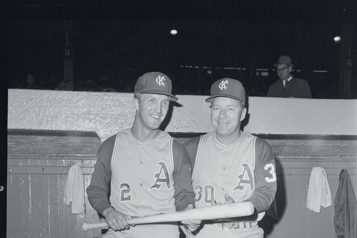 Wayne Causey and Ed Lopat in Dugout