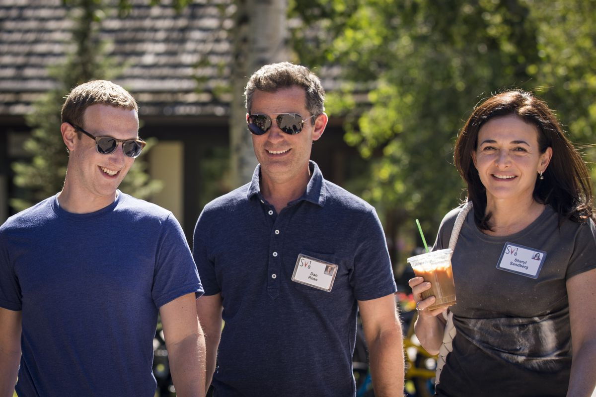 Facebook CEO Mark Zuckerberg, vice president Dan Rose, and COO Sheryl Sandberg at the Sun Valley conference in Idaho in July 2018.