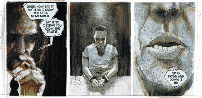 """""""Say it,"""" says a man smoking a cigarette, """"Say it so I know you still remember."""" A handcuffed man pauses, and then says """"Up is down and down is up."""" in The Department of Truth #1, Image Comics (2020)."""