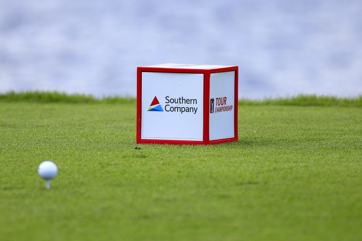 A tee box marker during the final round of the TOUR Championship on September 23, 2018, at the East Lake Golf Club in Atlanta, GA.