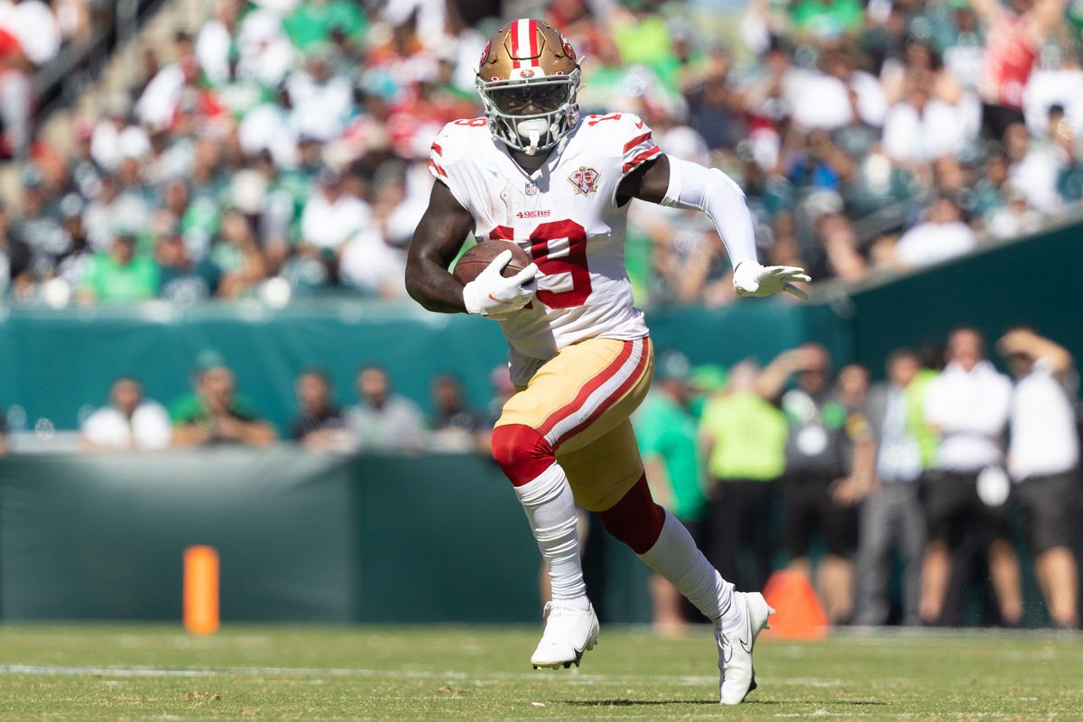 San Francisco 49ers wide receiver Deebo Samuel (19) in action against the Philadelphia Eagles during the second quarter at Lincoln Financial Field.