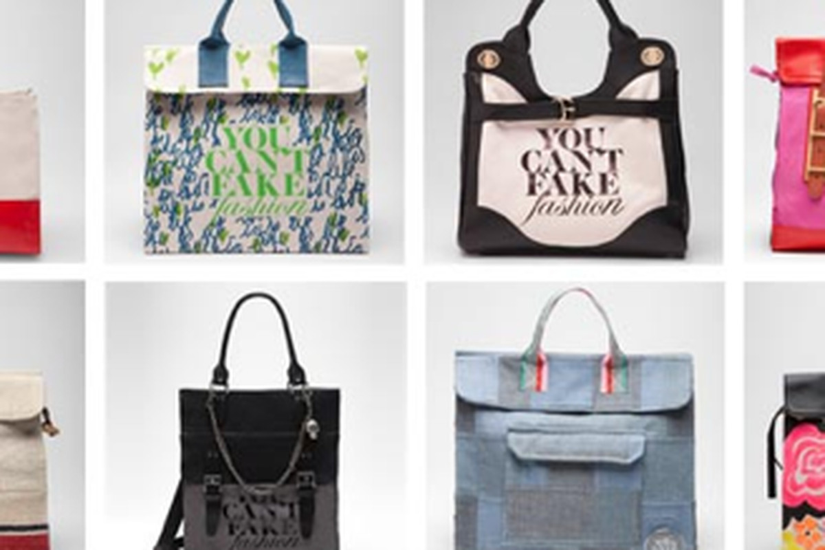 Eight of the seventy-six totes for sale, image via eBay