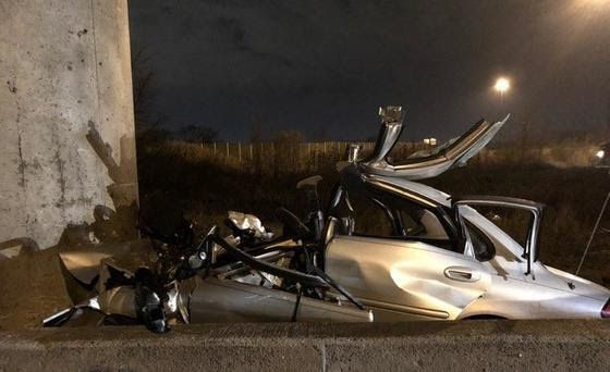 A driver was killed in a head-on crash with a bridge support pillar Feb. 3 on a ramp from I-80/94 to Cline Avenue in Hammond, Indiana.   Indiana State Police