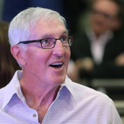 Former Utah Jazz coach Jerry Sloan attends the announcement of a $125 million renovation project for the Vivint Smart Home Arena in Salt Lake City on Wednesday, Sept. 21, 2016.