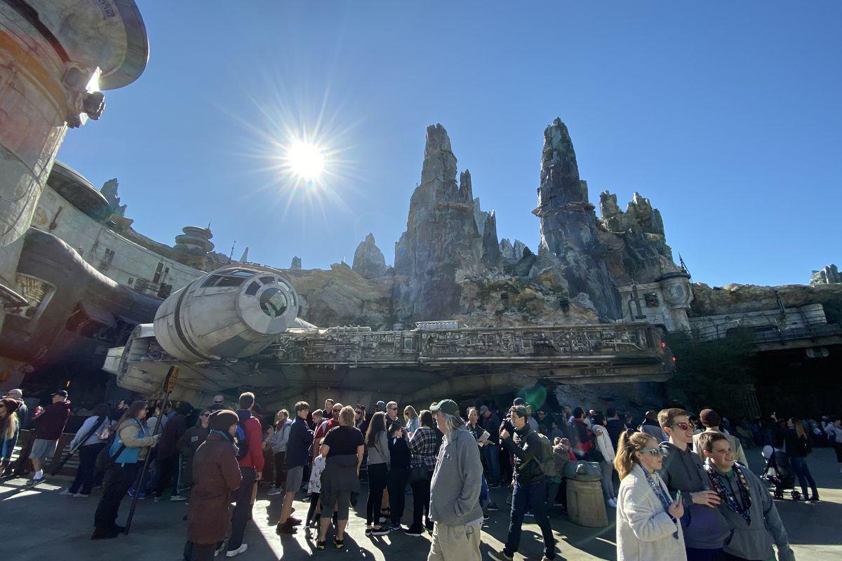 A photo of the Millennium Falcon at Star Wars Galaxy's Edge.