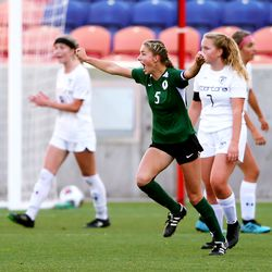 Olympus' Lily Webster celebrates a goal as Olympus and Murray play in the 5A girls soccer state semifinals at Rio Tinto Stadium in Sandy on Tuesday, Oct. 20, 2020.