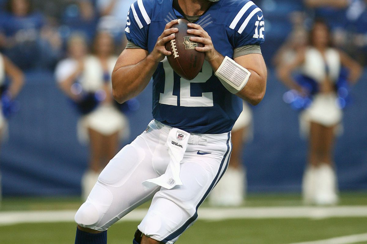 Aug 30, 2012; Indianapolis, IN, USA; Indianapolis Colts quarterback Andrew Luck (12) passes the ball in the game against the Cincinnati Bengals at Lucas Oil Stadium. Mandatory Credit: Mark Zerof-US PRESSWIRE