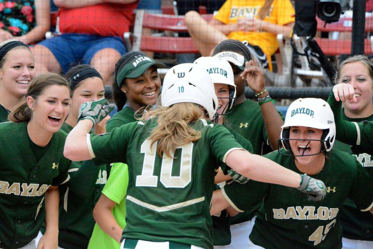 Baylor's Jordan Strickland comes home after hitting her second home run against FSU on Saturday