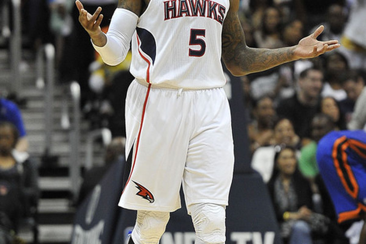 Apr 22, 2012; Atlanta, GA, USA; Atlanta Hawks power forward Josh Smith (5) reacts to a call against the New York Knicks during the second half at Philips Arena. The Knicks won 113-112. Mandatory Credit: Paul Abell-US PRESSWIRE
