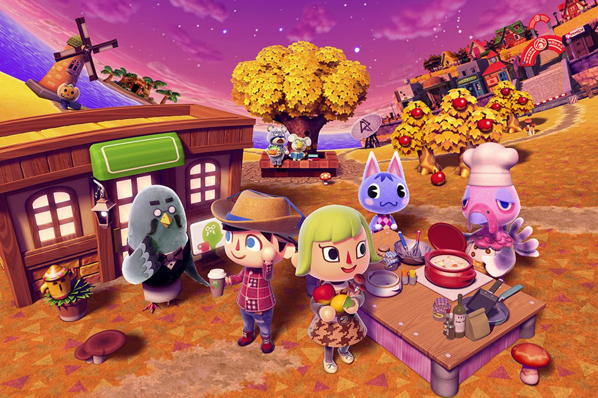 brewster in front of the shop with a bunch of new leaf villagers