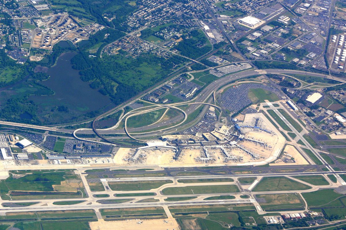 An aerial view of the Philadelphia International Airport.