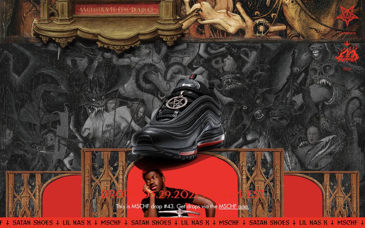 A screenshot of the MSCHF website featuring a black sneaker and satanic wallpaper.
