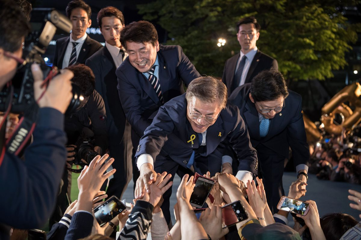 South Korea's new president greets supporters