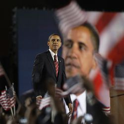 Barack Obama looking out into the crowd after his acceptance speech in Grant Park. | AP photo