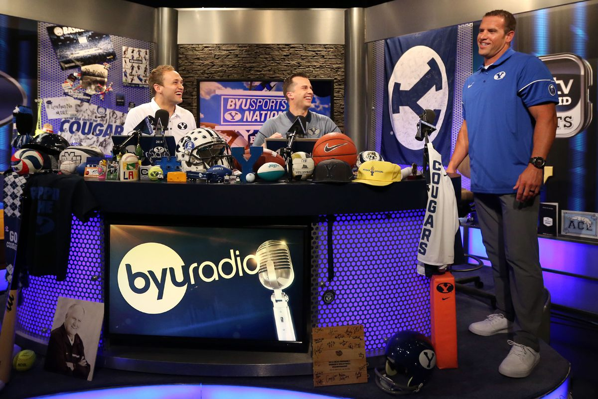 Luke Staley, right, laughs after an interview with BYU Sports Nation radio hosts Spencer Linton, left, and Jarom Jordan.