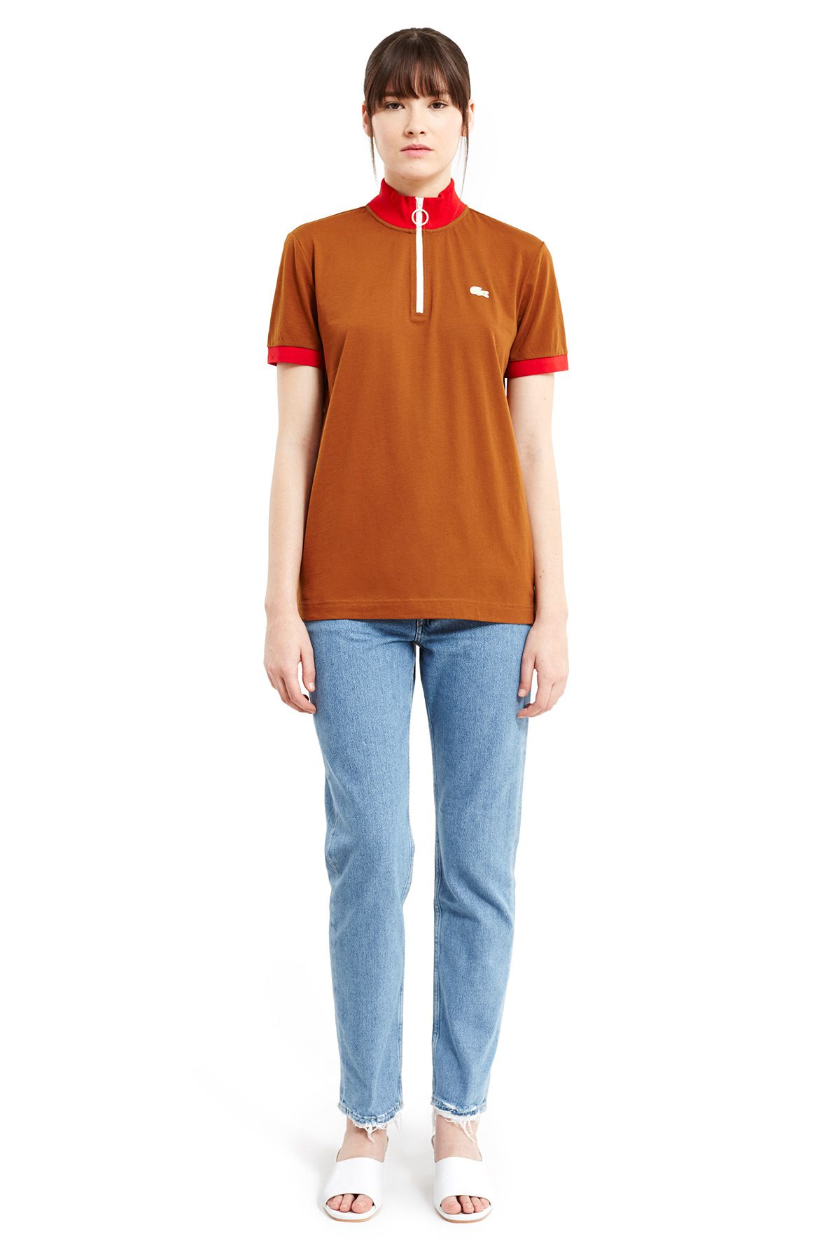 Lacoste x Opening Ceremony brown and red mock neck