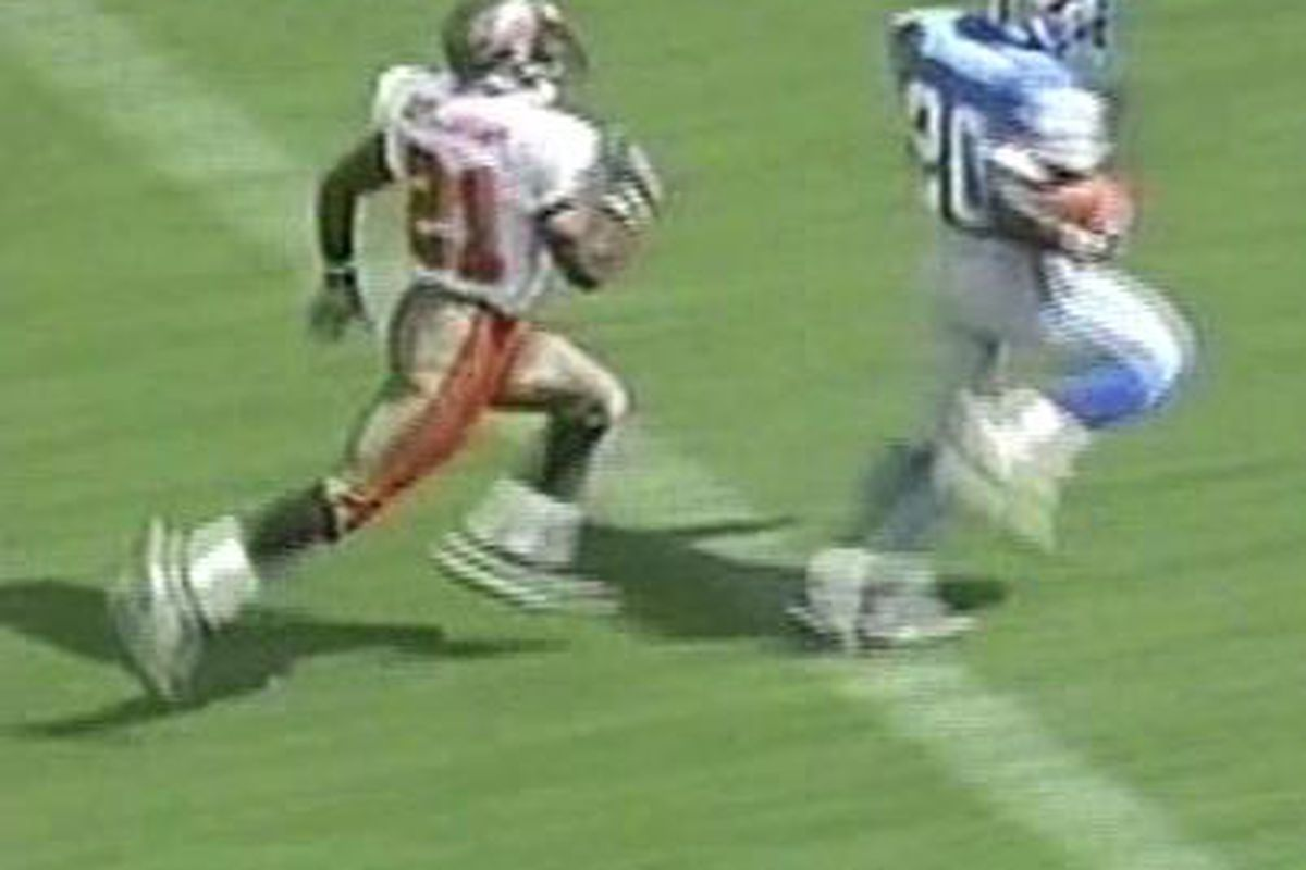 Donnie Abraham could not catch up to the great Barry Sanders On This Day.