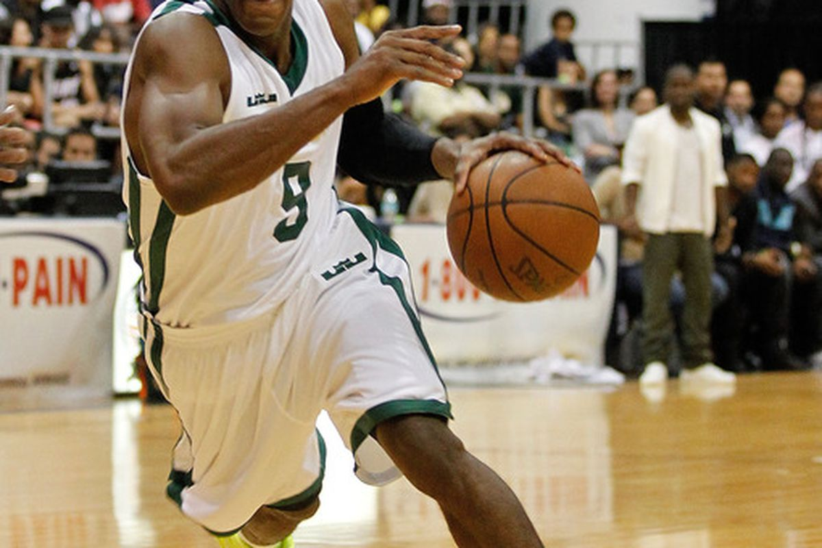 MIAMI, FL - OCTOBER 08: Rajon Rondo drives during the South Florida All Star Classic at Florida International University on October 8, 2011 in Miami, Florida.  (Photo by Mike Ehrmann/Getty Images)
