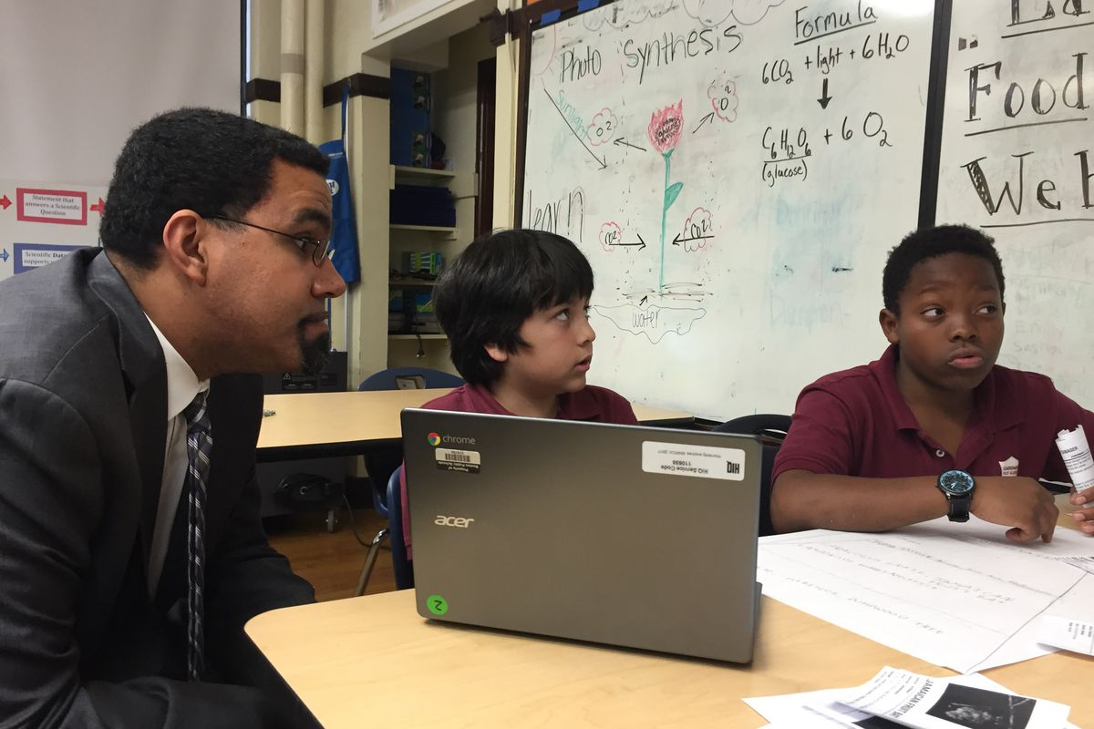 U.S. Secretary of Education John King meets with students at Gardner Pilot Academy in Boston.