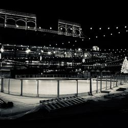 View looking east, toward the ice rink, with the ballpark in the background