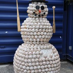 The baseball snowman used last year, located just outside of the Cubs Store entrance on Clark