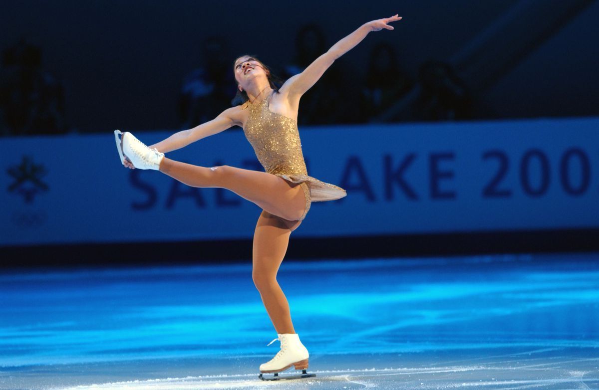 """Michelle Kwan performing her exhibition piece, """"Fields of Gold,"""" at the 2002 Olympic Games."""