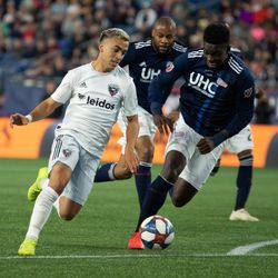 FOXBOROUGH, MA - MAY 25: D.C. United midfielder Lucas Rodríguez #11 tries to create something on the offensive end against the New England Revolution at Gillette Stadium on May 25, 2019 in Foxborough, Massachusetts. (Photo by J. Alexander Dolan - The Bent Musket)