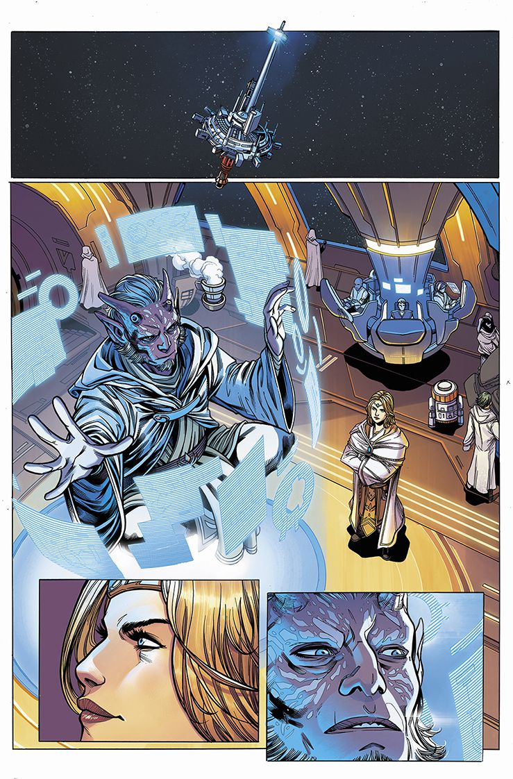 Aboard the Starlight Beacon, Jedi Master Avar Kriss observes the Jedi Estala Maru as he levitates and observes dozens of hologram screens, in Star Wars: The High Republic #1, Marvel Comics (2021).