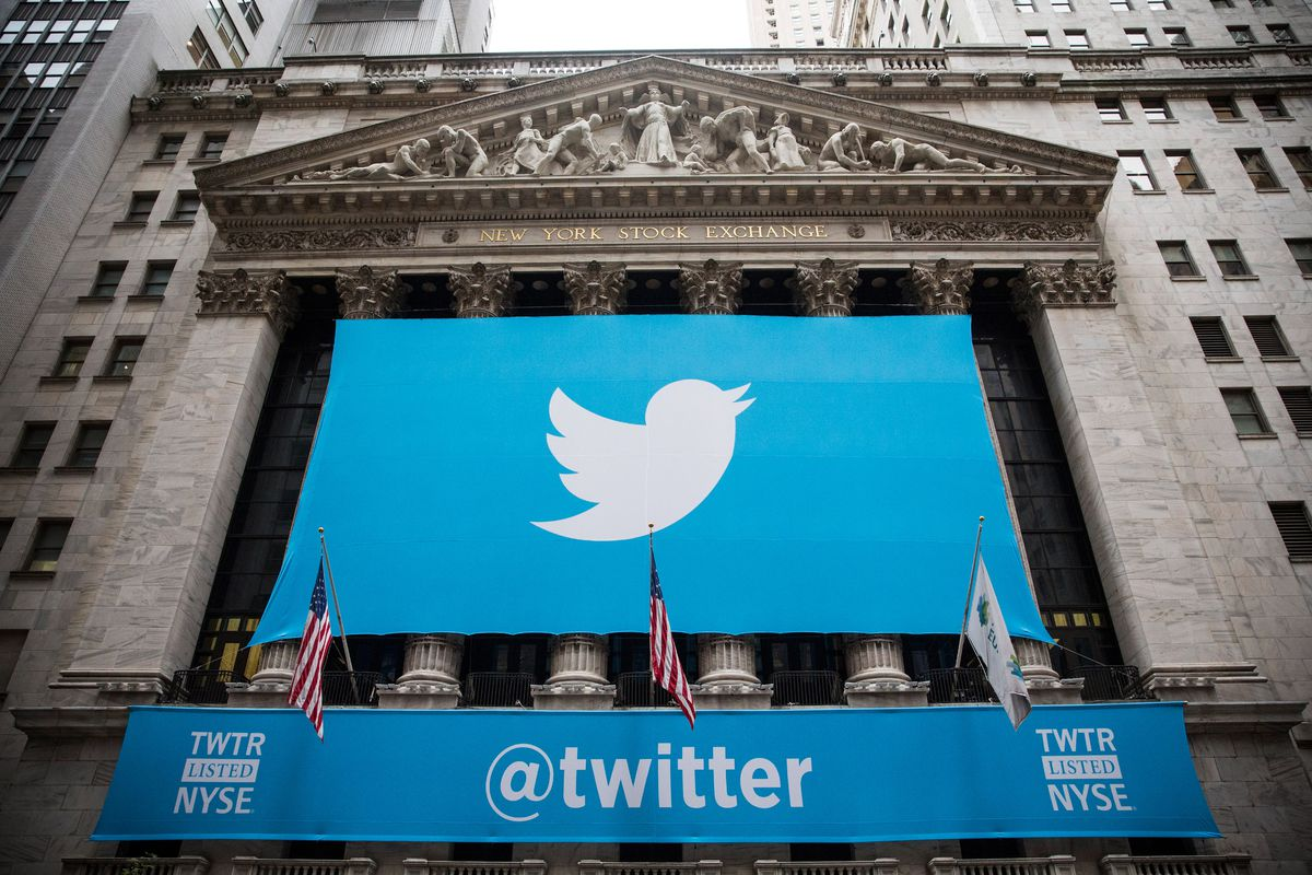 The Twitter logo is displayed on a banner outside the New York Stock Exchange (NYSE) on November 7, 2013 in New York City.