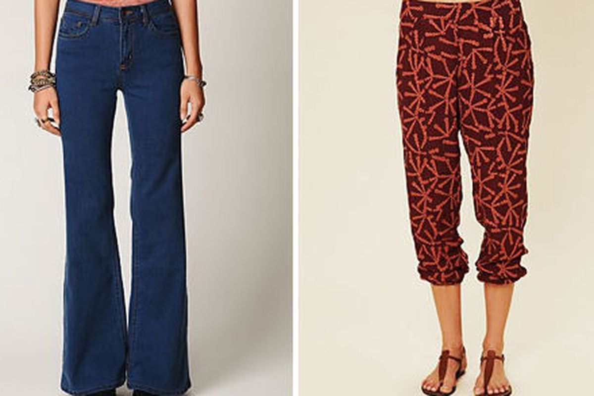 """<a href=""""http://www.freepeople.com/sale-new-sale/high-waisted-flares/"""">High Waisted Flares</a>, $99.95 (was $178), and <a href=""""http://www.freepeople.com/sale-new-sale/desert-palm-pant/"""">Desert Palm Pants</a>, $89.95 (was $128), via <a href=""""http://"""