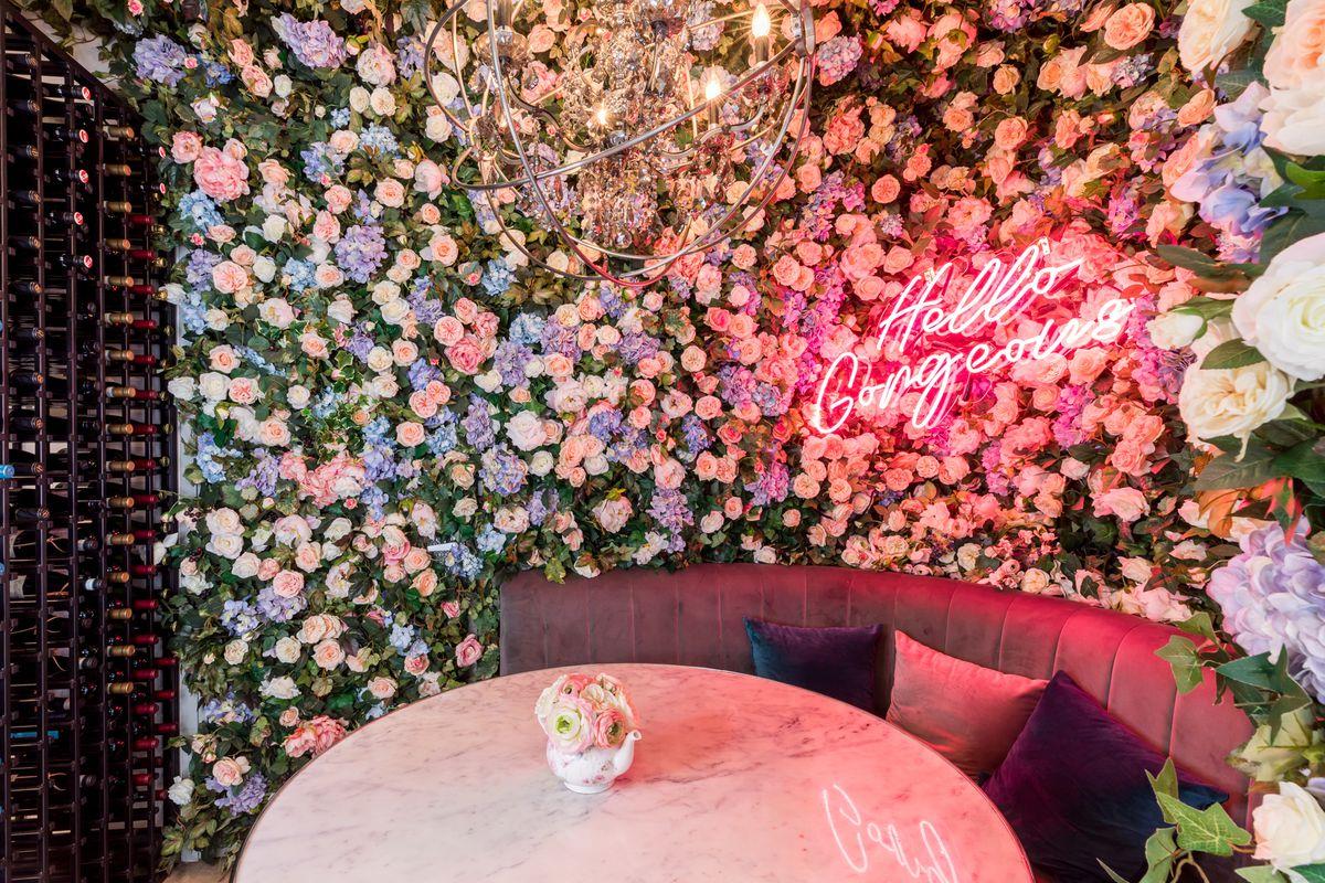 Floral wall at Son & Garden