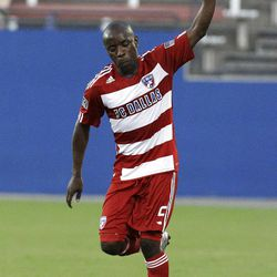 FC Dallas defender Jair Benitez acknowledges cheers from fans after scoring on a free kick against Real Salt Lake in the first half of a U.S. Open Cup quarterfinal soccer match Tuesday, July 12, 2011, in Frisco, Texas.