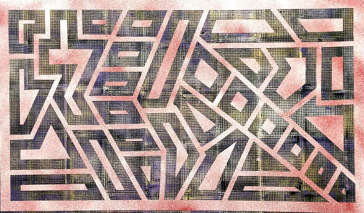 """Daniel Shoykhet's """"Spray"""" — a canvas piece he did late last year — is an example of the geometric style that preceded his work with optical illusion art."""