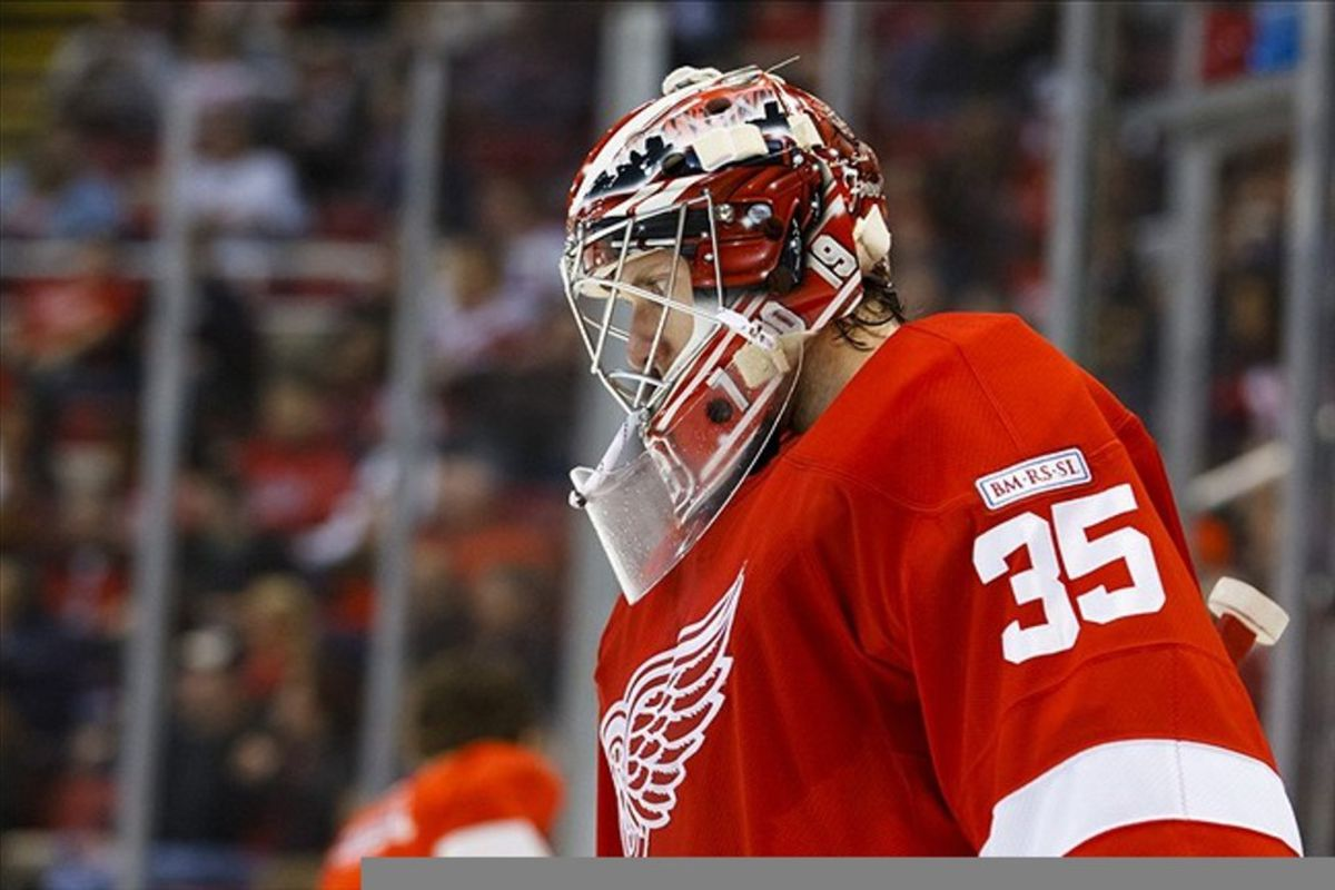 March 2, 2012; Detroit, MI, USA; Detroit Red Wings goalie Jimmy Howard (35) in the second period against the Minnesota Wild at Joe Louis Arena. Mandatory Credit: Rick Osentoski-US PRESSWIRE