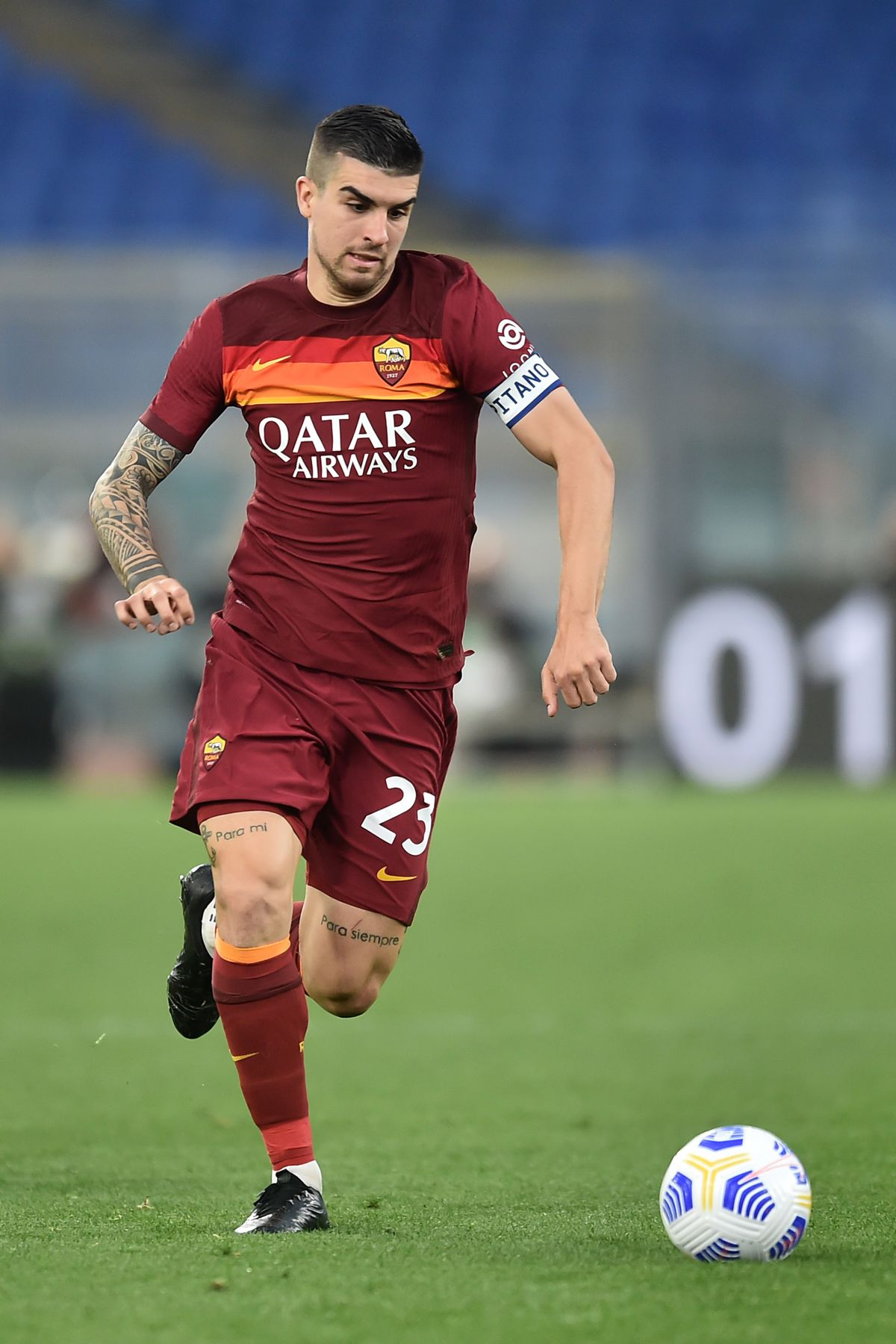 Gianluca Mancini of AS Roma in action during the Serie A...
