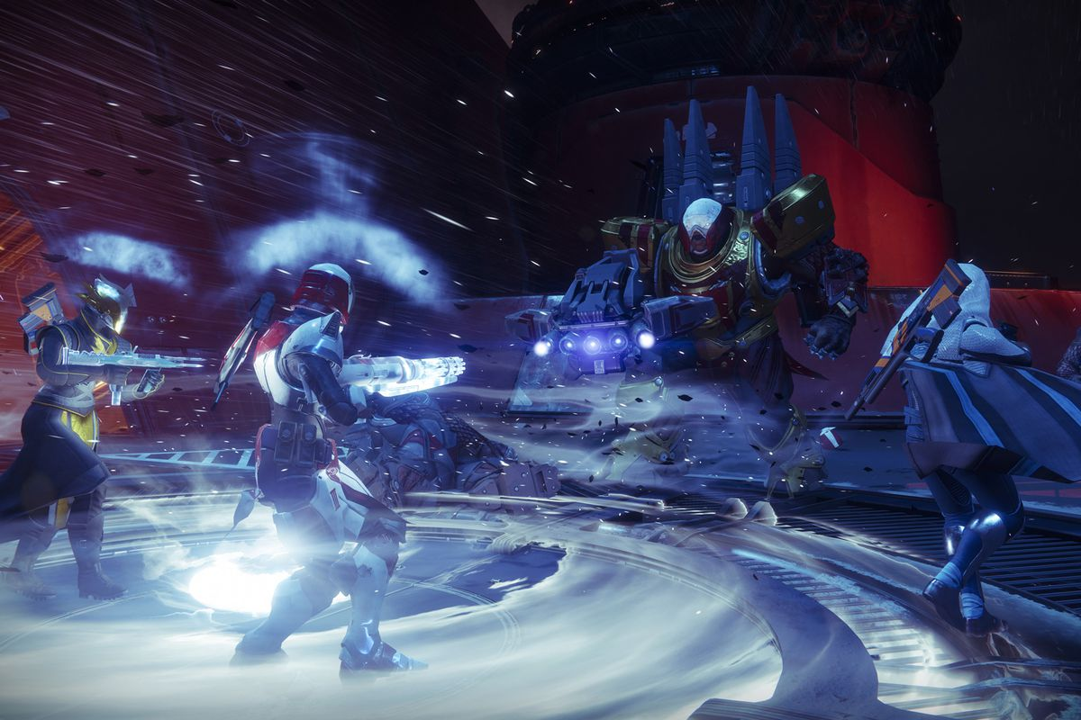 Destiny 2 - three Guardians fighting a Cabal leader