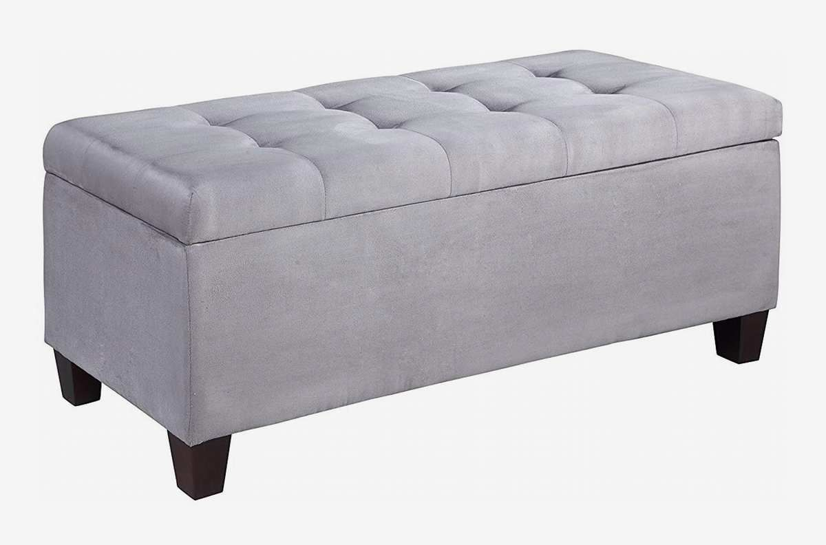 Tufted bench with storage.