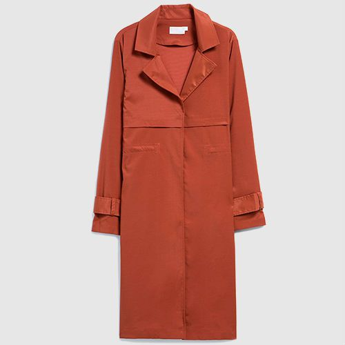 Burnt orange trench coat.