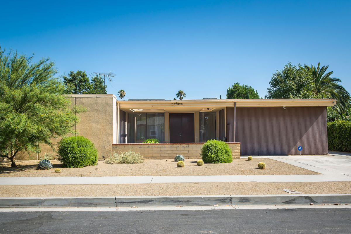 An exterior photo of the house at 17823 Delano Street.