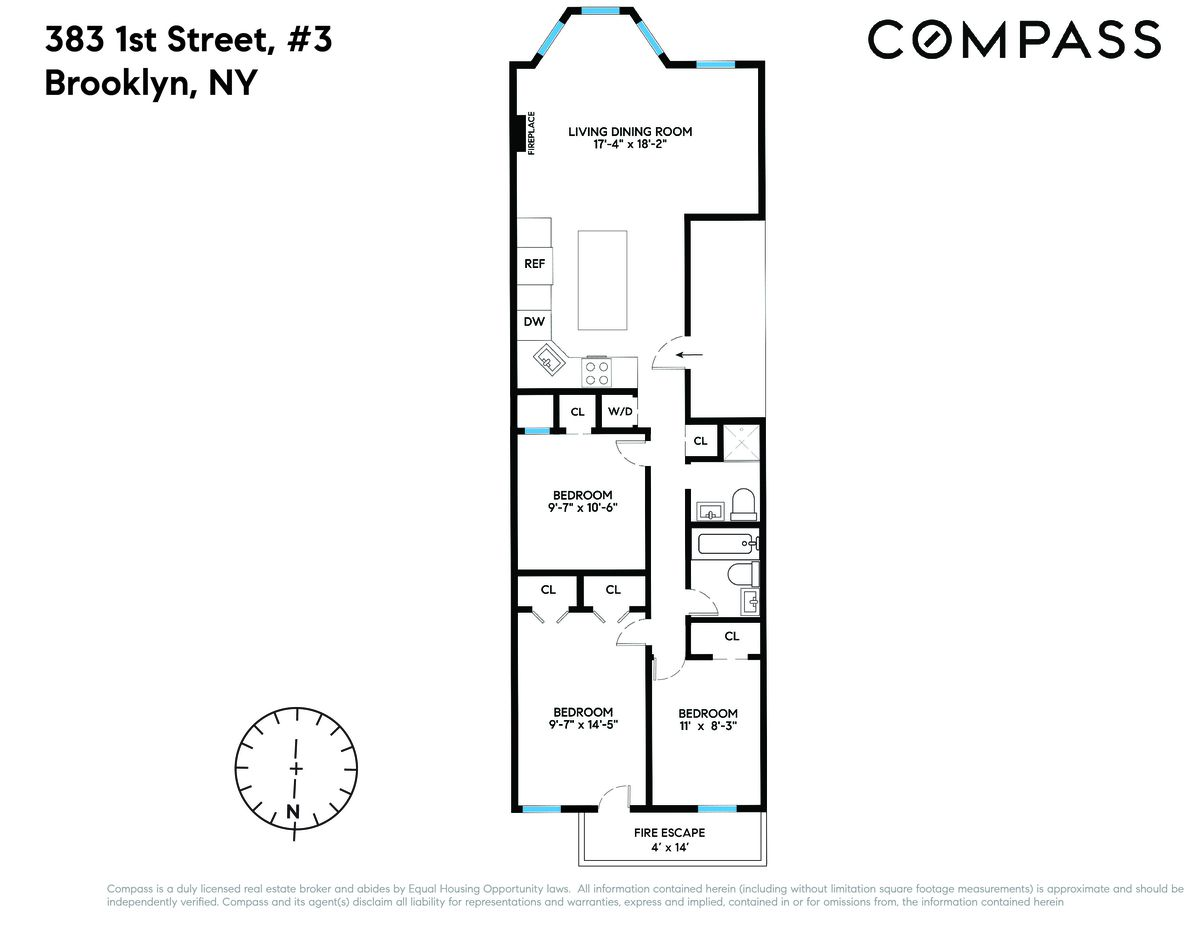 Floor plan showing living room to the front and three bedrooms to the back.