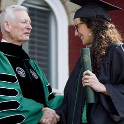 Southern Virginia University President Paul K. Sybrowsky congratulates a member of the class of 2013 on April 27, 2013.